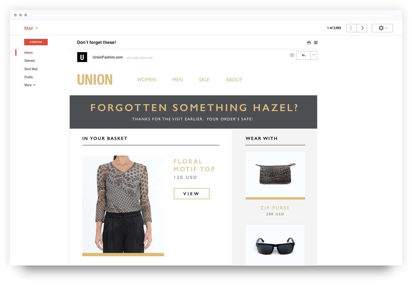 Abandonment recovery - Fashion personalization strategy